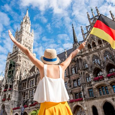 _Women with Germany Flag at Munich (use for CMS)